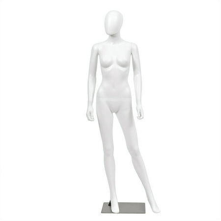 Gymax Female Mannequin Egghead Plastic Full Body Dress Form