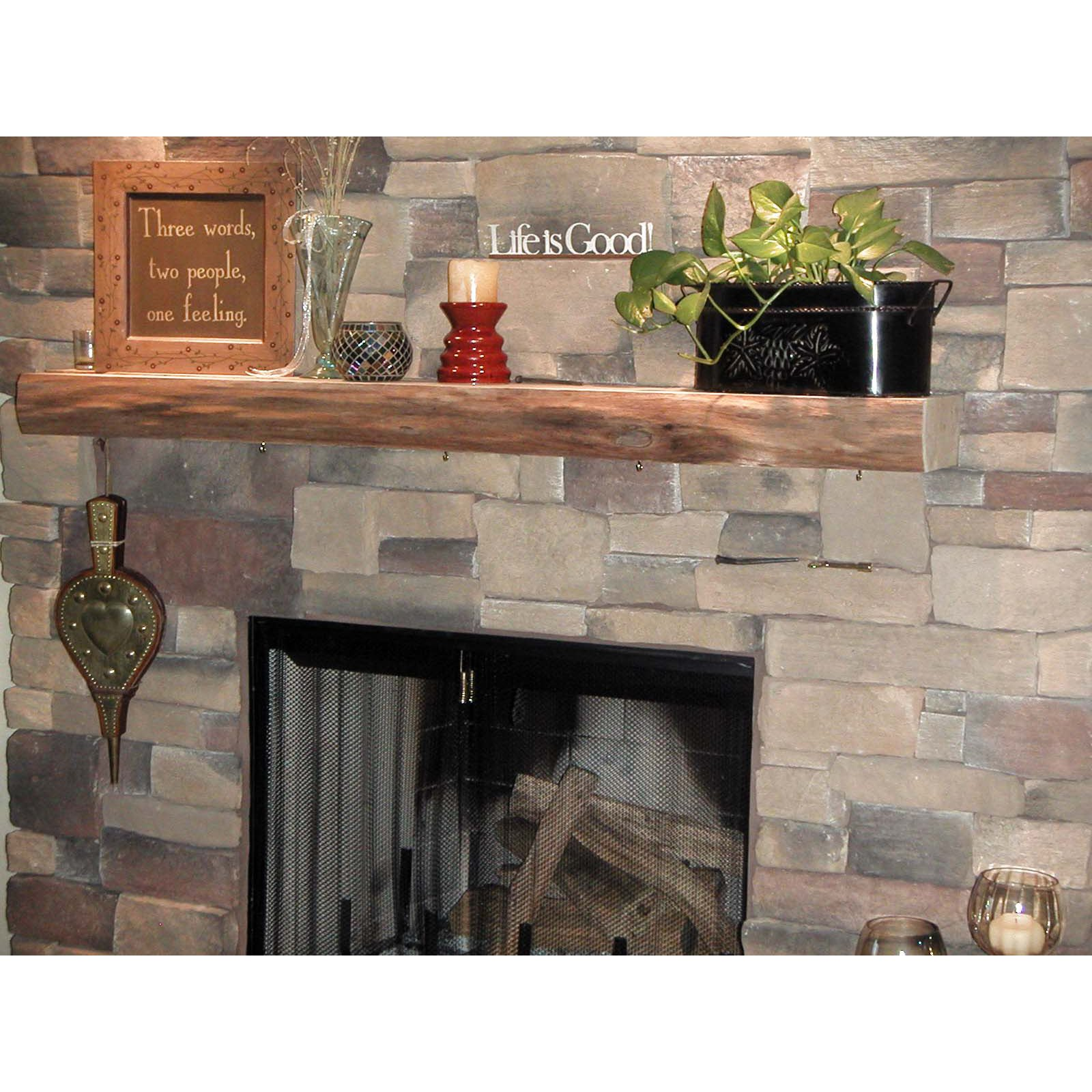 kettle moraine hardwoods morton rustic fireplace mantel shelf rh walmart com Rustic Stone Fireplaces Rustic Mantel Decorating Ideas
