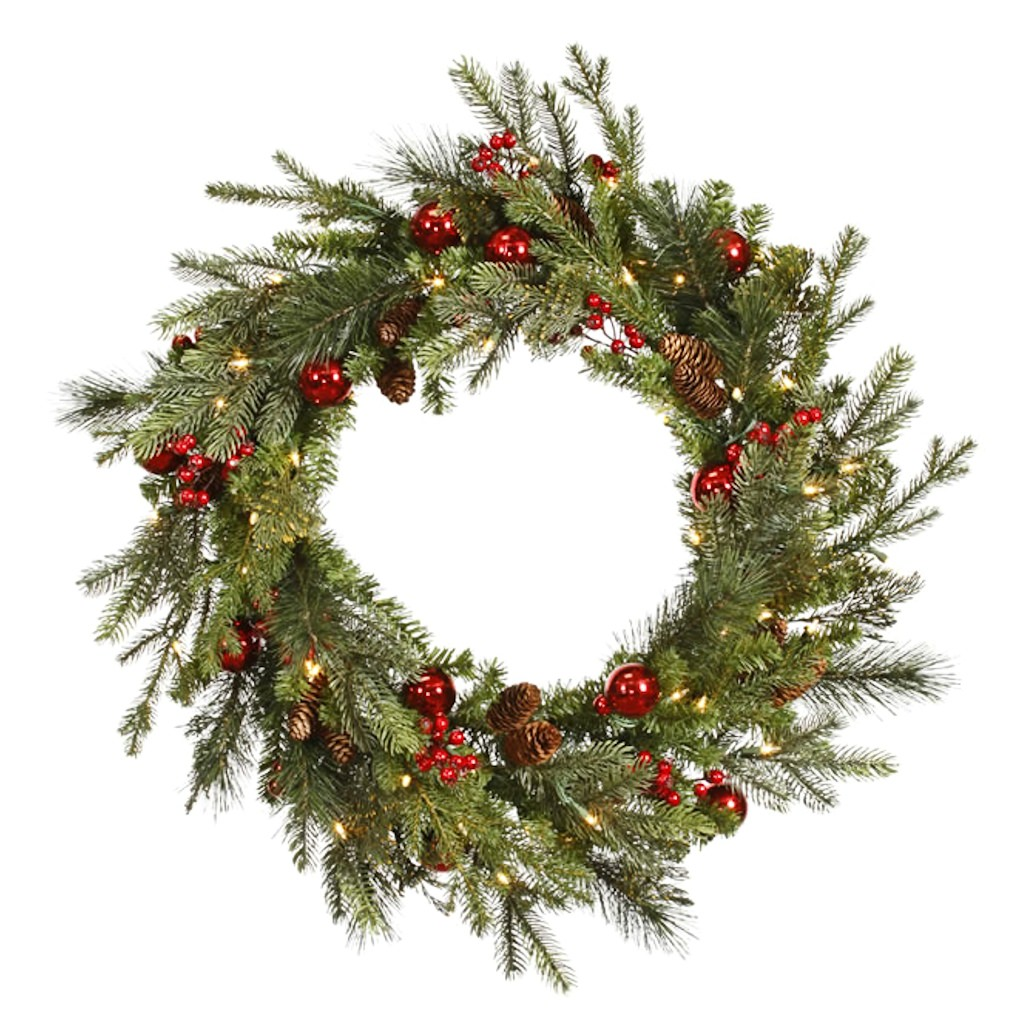 Vickerman 24 in. Mixed Berry Ball Wreath