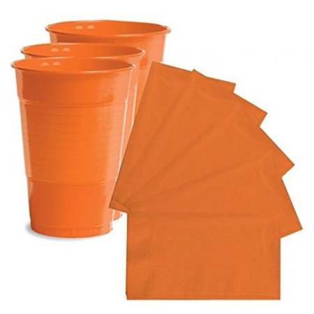 Creative Converting Orange 16 oz Plastic Cups - 20 ct with Creative Converting 2-Ply 50 Count Paper Dinner Napkins Sun-Kissed Orange](Halloween Dinner)