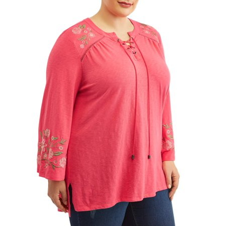 Terra & Sky Women's Plus Size Embroidered Peasant Top
