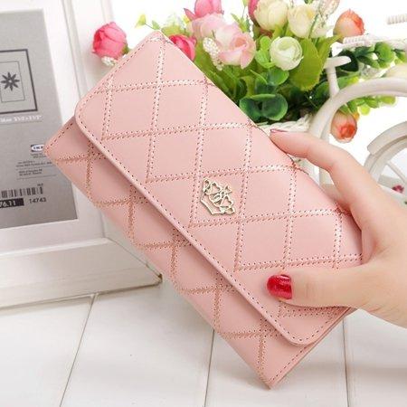 Women's Fashion Handbags Rhombus Form Twiggy Purse Hearts Crown Wallet Red Heart Wallet