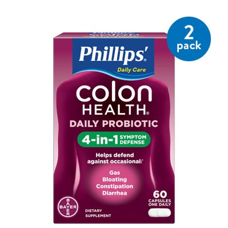 (2 Pack) Phillips' Colon Health Daily Probiotic Supplement Capsules, 60
