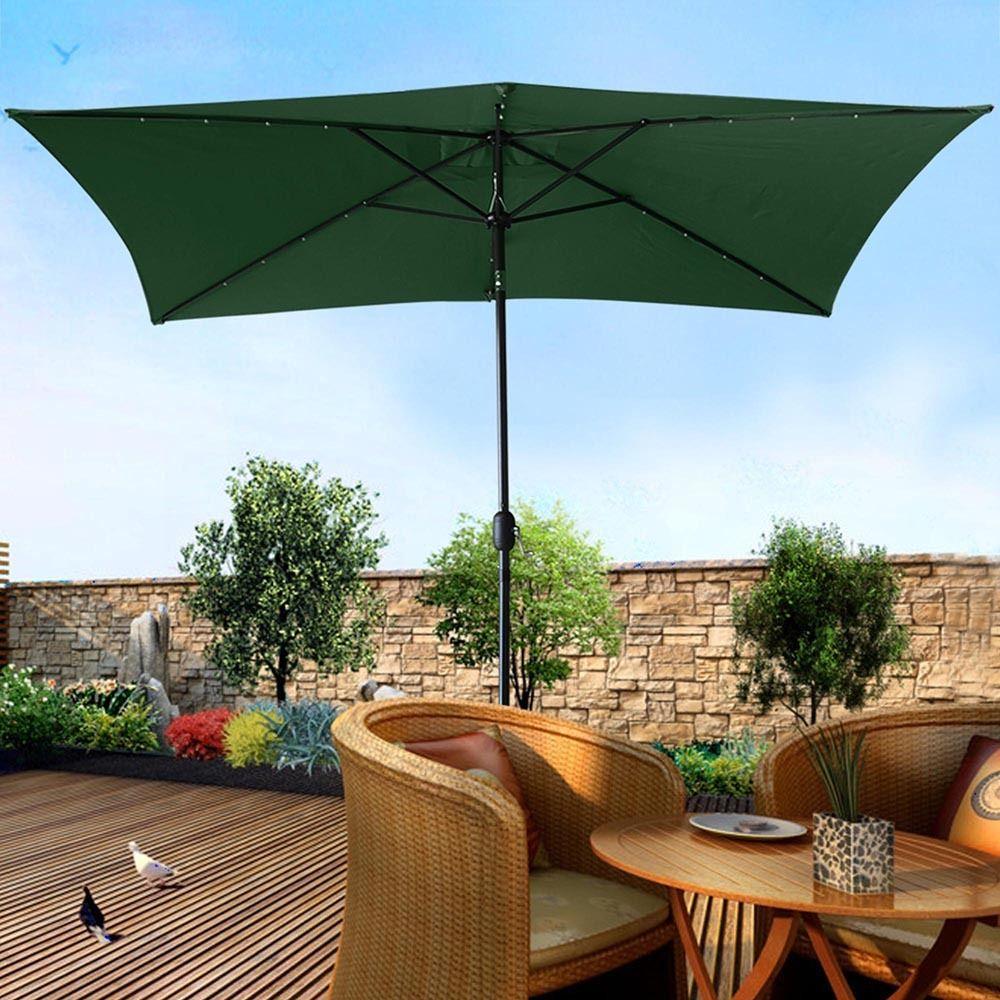 GHP 10x6.5u0027 Green Rectangle Aluminum Pole Crank Tilt Solar Patio Umbrella W  20