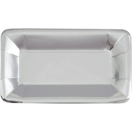 Rectangular Paper Appetizer Plates, 9 x 5 in, Foil Silver, 8ct