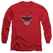 Mighty Morphin Power Rangers Red Ranger Mask Mens Long Sleeve Shirt