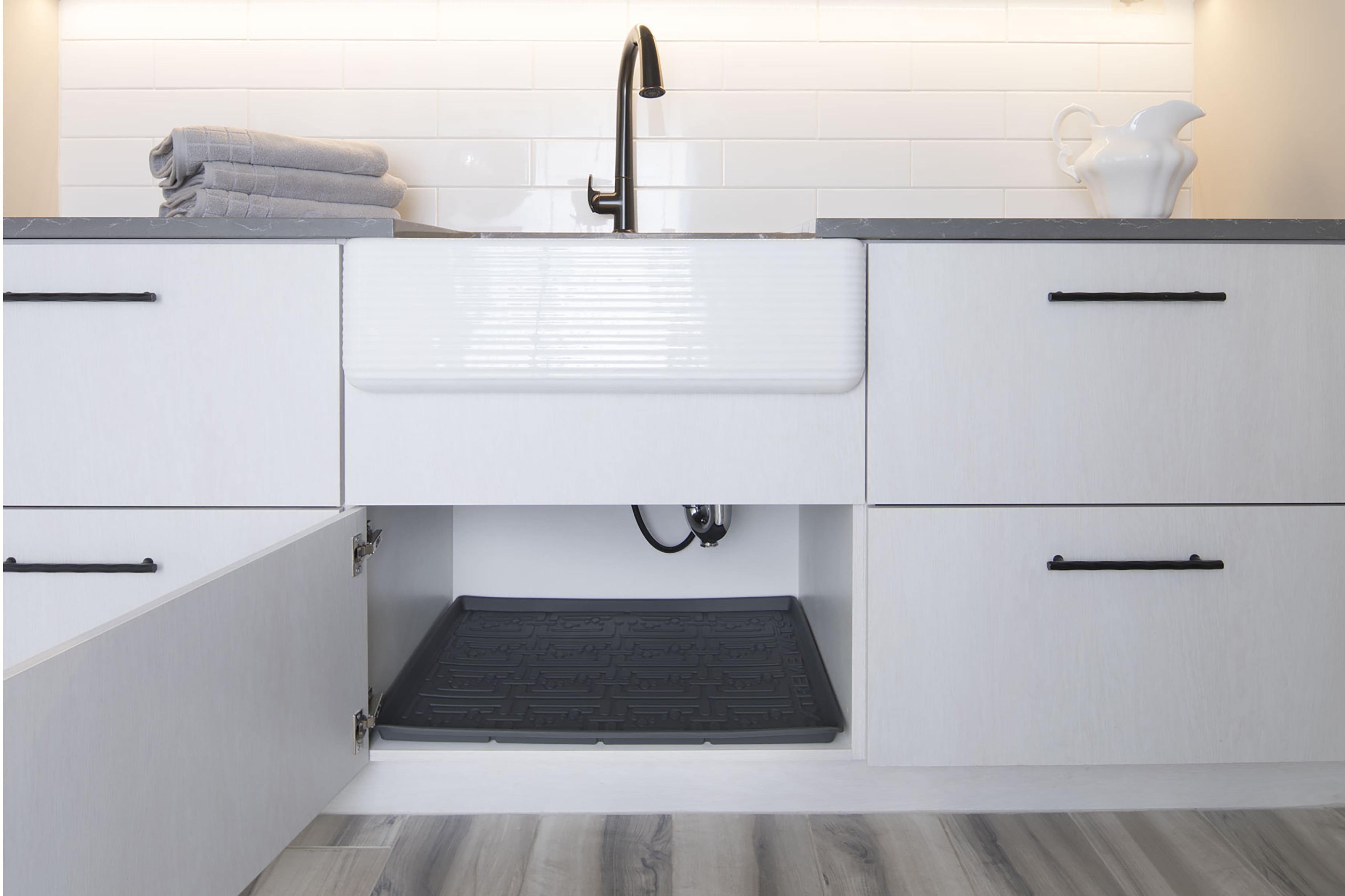 Xtreme Mats Under Sink Kitchen Cabinet Mat 36 5 8 X 21 7 8 Grey