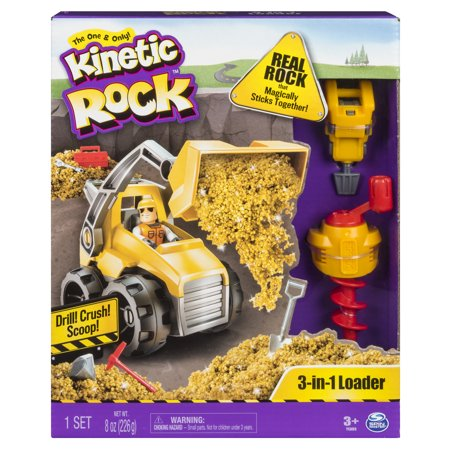 Kinetic Rock - 3-in-1 Loader with Construction Tools and Gold Kinetic Rock, for Ages 3 and Up