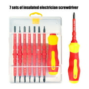 7Pcs Electrican  Repair Tools Insulated Electrical Screwdriver Set and Flat Double Head Precision with Magnetic Tips Repairing Hand Tools