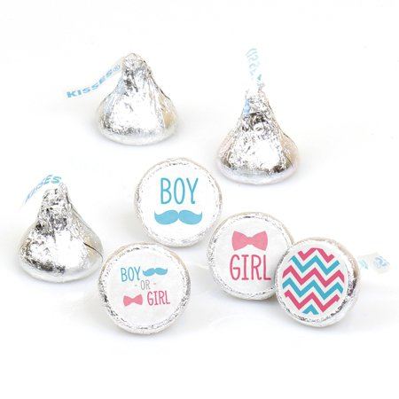 Chevron Gender Reveal - 108 Round Candy Labels Gender Reveal Favors - Fits Hershey's Kisses