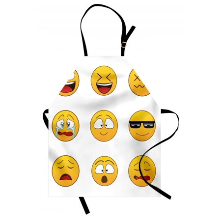 Emoji Apron Happy Smiley Angry Furious Sad Face Expressions with Glasses Moods Cartoon Like Print, Unisex Kitchen Bib Apron with Adjustable Neck for Cooking Baking Gardening, Yellow, by