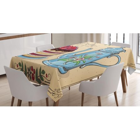 70s Themed Cake Ideas (Tea Tablecloth, Tea Time Secret of Cosiness Quote with Berry Cake and Pot Brunch Theme Vintage Style, Rectangular Table Cover for Dining Room Kitchen, 52 X 70 Inches, Multicolor, by)