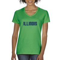 Trendy USA 1359 - Women's V-Neck T-Shirt Illinois College Block Text XL Royal Blue