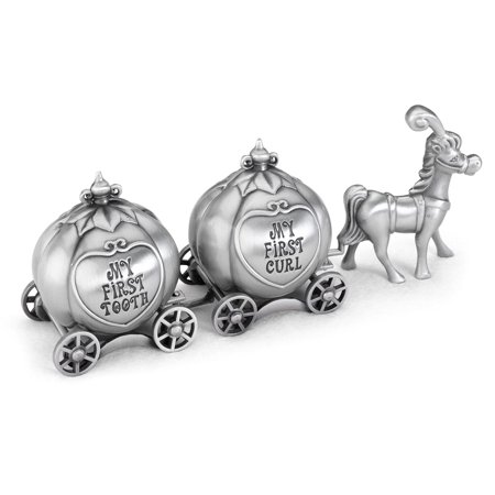 - Lillian Rose Pewter Finish Fairy Tale Coach Tooth & Curl Boxes