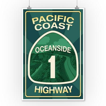Oceanside California Pier (Highway 1, California - Oceanside - Pacific Coast Highway Sign - Lantern Press Poster (9x12 Art Print, Wall Decor Travel Poster) )