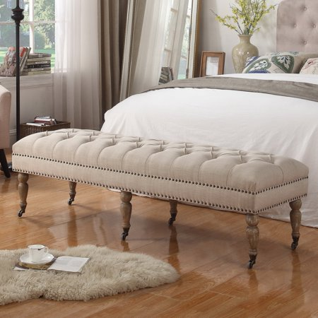 alton furniture berta upholstered ottoman bedroom bench, multiple colors - walmart