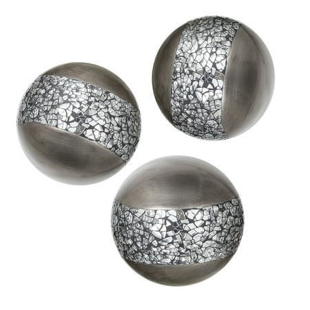Schonwerk Silver Decorative Orbs for Bowls and Vases (Set of 3) Resin Sphere Balls | Dining/Coffee Table Centerpiece | Great Gift Idea (Crackled Mosaic) - Paris Centerpieces Ideas