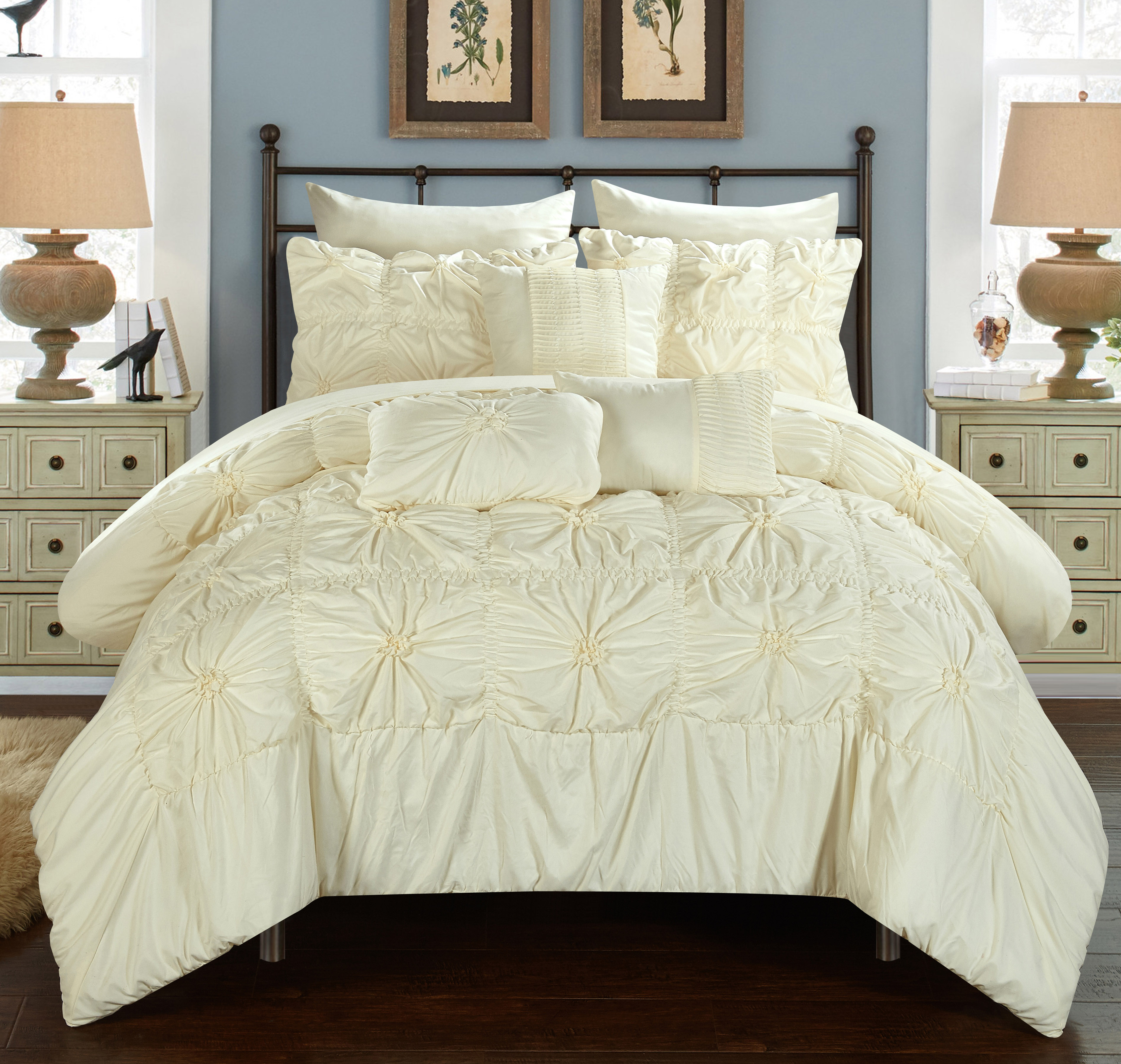 Chic Home 8-Piece Grantfield Floral Pinch Pleat Ruffled Designer Embellished Twin Bed In a Bag Comforter Set Beige With sheet set