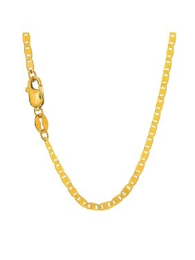 10k Solid Yellow Gold 1.7 mm Mariner Chain Anklet, Lobster Claw Clasp - 10""