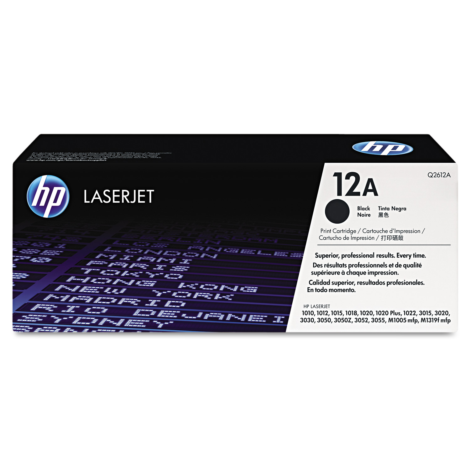 HP 12A, (Q2612A) Black Original LaserJet Toner Cartridge -HEWQ2612A