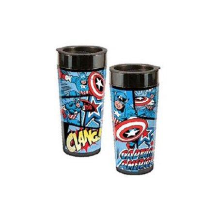 Marvel Captain America 16 Oz Plastic Travel Mug (Vandor, Llc)
