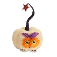 "10"" Cream and Orange Owl Pumpkin with Star Autumn Tabletop Decor"