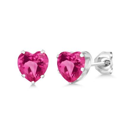 2.14 Ct Heart Shape 6mm Pink Created Sapphire 925 Sterling Silver Stud Earrings