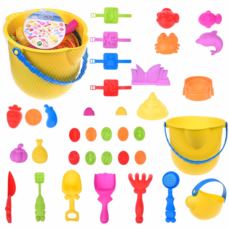 Kids Beach Sand Toy with Mesh Bag Sandbox Play Set for Toddlers, Includes Sand Bucket, Sea Creatures, Sand Stamps, Sand Castle molds With Shovels, Rakes, and Knif,36 Pcs F-60