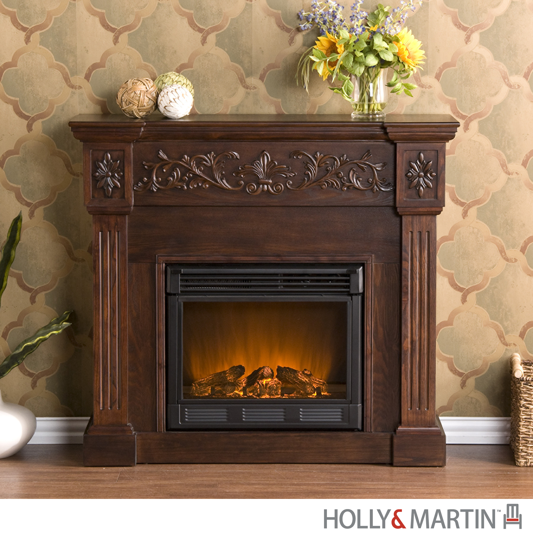 Wildon Home  Oakley Electric Fireplace in Espresso