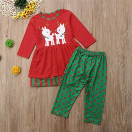 Toddler Kids Baby Girls Xmas Outfits Clothes T-shirt Tops Dress+Pants 2PCS Sets