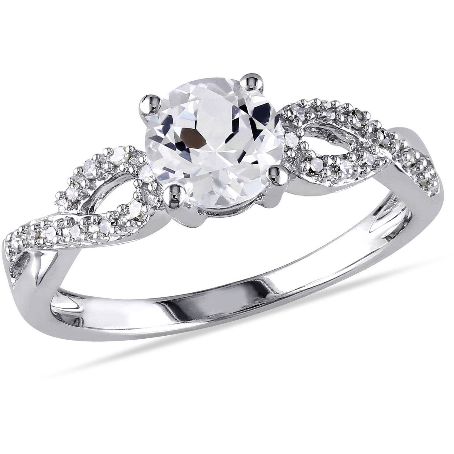 Miabella 1 Carat T.G.W. Created White Sapphire and 1/10 Carat T.W. Diamond 10kt White Gold Cross-Over Engagement Ring