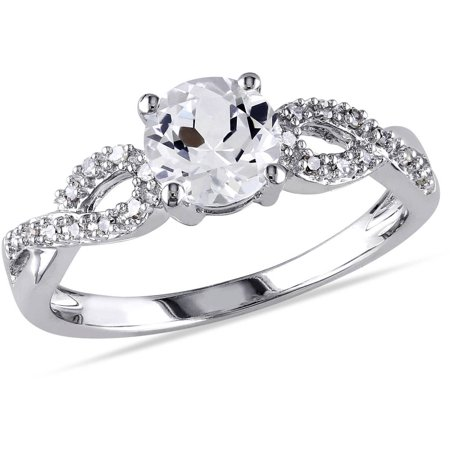 1/10 Carat T.W. Diamond and 1 Carat T.G.W. Created White Sapphire 10kt White Gold Infinity Engagement - Halloween Engagement Rings