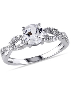 1/10 Carat T.W. Diamond and 1 Carat T.G.W. Created White Sapphire 10kt White Gold Infinity Engagement Ring