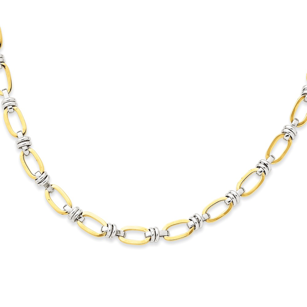 """14K Yellow Gold Two-Tone Fancy Link Necklace -18"""" (18in x 5mm) by"""