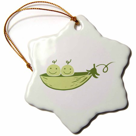 3dRose Picture of two peas in a pod on a white background - Snowflake Ornament,