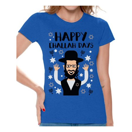 - Awkward Styles Happy Challah Days Tshirt for Women Hanukkah Holiday Shirt Jewish Holidays Chanukah Ugly T Shirt Funny Hanukkah Gifts Funny Holiday Shirts for Women David's Star Tshirt Jewish Shirt