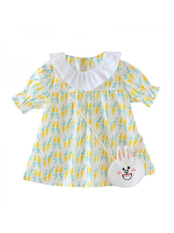 Ropalia Toddler Girls Cute Short Sleeve Dress Petal Collar Sundress