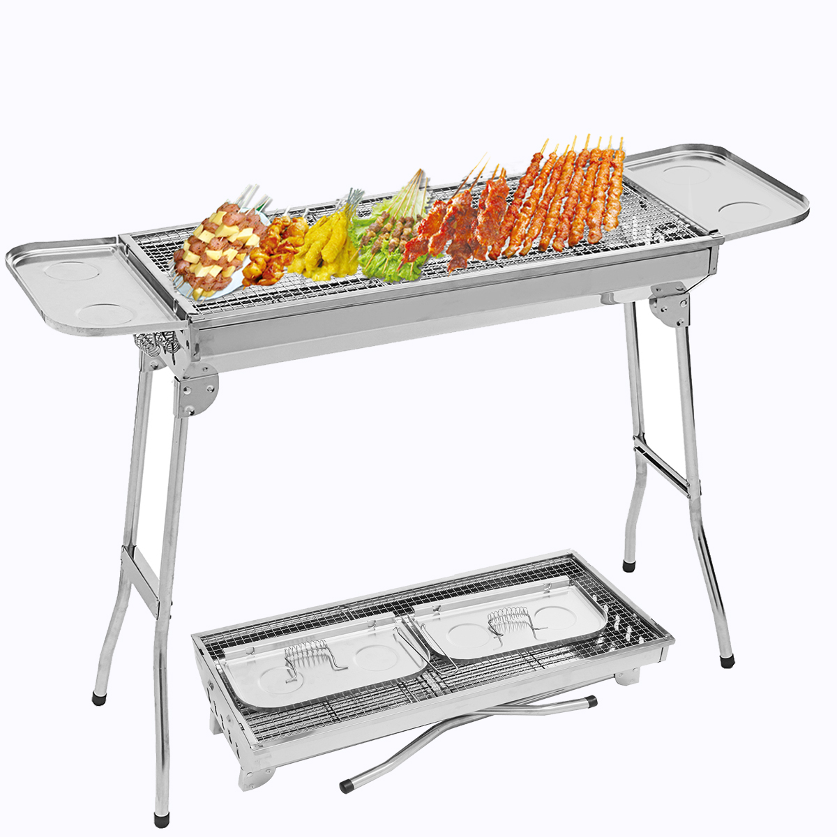 "43""x13""x27.5"" Foldable Barbecue Charcoal Grill Stove Shish Kabob Stainless Steel BBQ Patio Garden Camping"