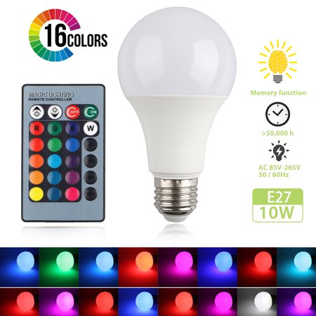 LED Light Bulb, EEEKit E27 10W/15W RGB LED 16 Color Changing Light Bulb Decorative Lights Lamp with Remote Control  for Hotel, Living Room, Shop, Corridor ()