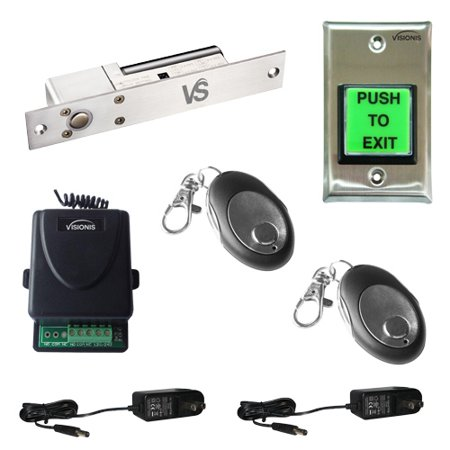 FPC-5438 One Door Access Control 1,700lbs Electric Drop Bolt Fail Safe with Visionis Wireless Receiver and Remote Kit