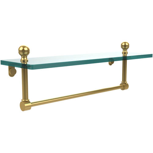 "Mambo 16"" Glass Vanity Shelf with Integrated Towel Bar (Build to Order)"