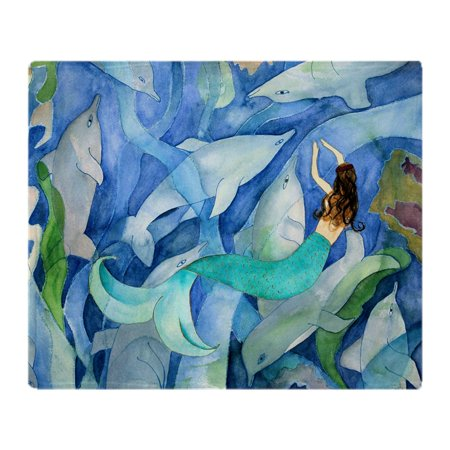 CafePress - Dolphin  Mermaid Party - Soft Fleece Throw Blanket, 50