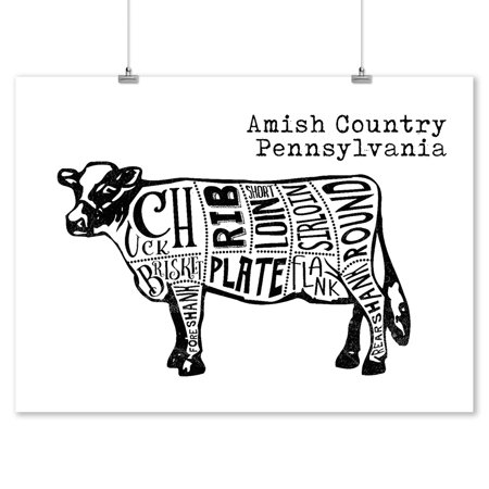 Amish Country, Pennsylvania - Butchers Block Meat Cuts - Black Cow on White - Lantern Press Artwork (9x12 Art Print, Wall Decor Travel
