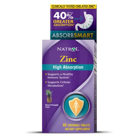 Natrol High Absorption Zinc Chewable Tablets, 60 Ct