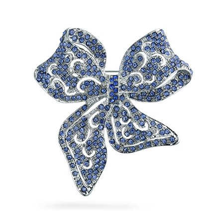 Large Vintage Style London Blue Statement Ribbon Open Filigree Crystal Wedding Bow Brooch Pin For Women Silver Plated Turquoise Vintage Brooch