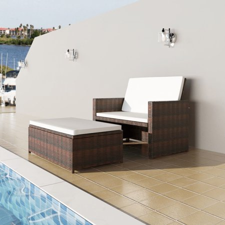 vidaXL Garden Sofa Set Five Pieces Poly Rattan Brown This multifunctional rattan sofa bed set will be the focal point of your terrace, garden or patio! It can be used as a sofa, sofa bed, or sofa with a stool.