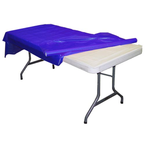 Exquisite 300 ft Blue Plastic Table Cloth Rolls - 300 ft. x 40 in - Disposable Blue Table Cover Rolls