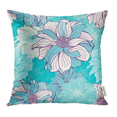 ARHOME Teal Simple Flowers of Dahlia Mint Turquoise and Deep Purple Colors Colorful Floral Pillow Case Pillow Cover 16x16 inch Throw Pillow Covers](Purple And Turquoise)