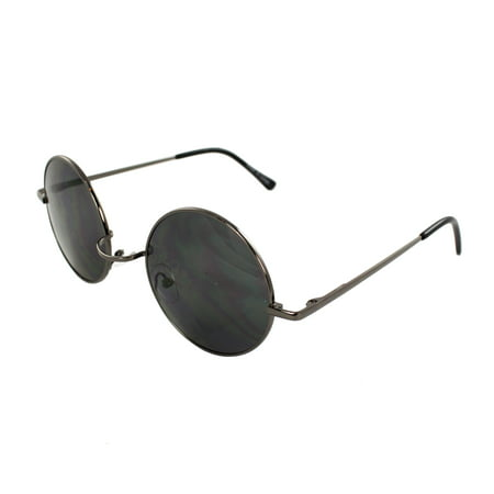 MLC Eyewear 7133-BKSM Retro Round Sunglasses Black Frame and Black Lenses for Women and Men ()