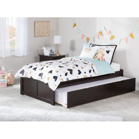 Concord Twin Platform Bed with Flat Panel Foot Board and Twin Size Urban Trundle Bed in Espresso ()